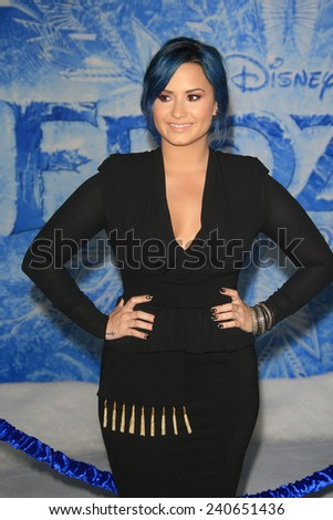 LOS ANGELES - NOV 19: Demi Lovato at the premiere of Walt Disney Animation Studios' 'Frozen' at the El Capitan Theater on November 19, 2013 in Los Angeles, CA - stock photo