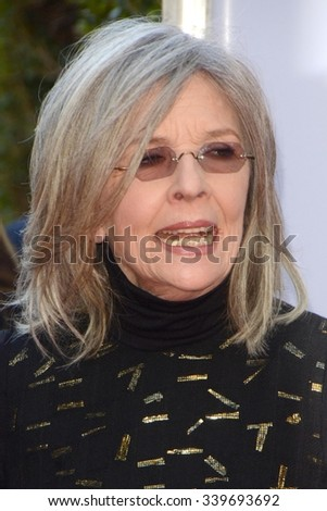 "LOS ANGELES - NOV 12:  Diane Keaton at the ""Love the Coopers"" Los Angeles Premiere at the The Grove on November 12, 2015 in Los Angeles, CA - stock photo"
