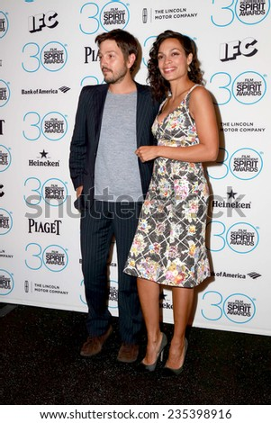LOS ANGELES - NOV 25:  Diego Luna, Rosario Dawson at the Film Independent Spirit Award Nominations at the W Hotel Hollywood on November 25, 2014 in Los Angeles, CA - stock photo