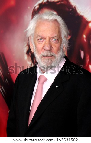LOS ANGELES - NOV 18:  Donald Sutherland at the The Hunger Games:  Catching Fire Premiere at Nokia Theater on November 18, 2013 in Los Angeles, CA