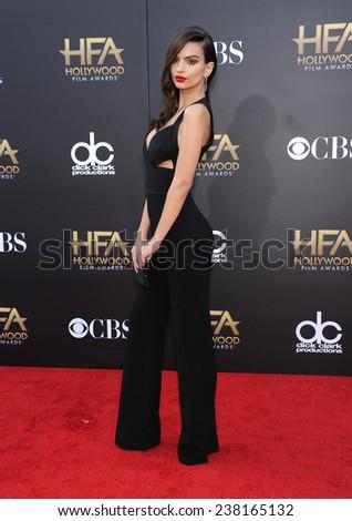 LOS ANGELES - NOV 14:  Emily Ratajkowski arrives to the The Hollywood Film Awards 2014 on November 14, 2014 in Hollywood, CA                 - stock photo