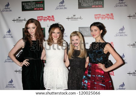 LOS ANGELES - NOV 25:  Emma Dumont, Kaitlyn Jenkins, Bailey Buntain, Julia Goldani Telles arrives at the 2012 Hollywood Christmas Parade at Hollywood & Highland on November 25, 2012 in Los Angeles, CA
