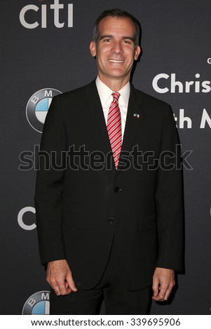 LOS ANGELES - NOV 14:  Eric Garcetti at the The Grove Christmas with Seth MacFarlane 2015 at the The Grove on November 14, 2015 in Los Angeles, CA - stock photo