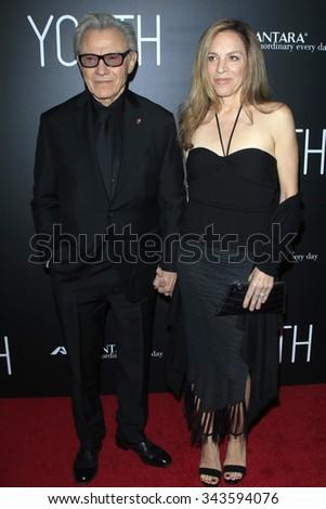 "LOS ANGELES - NOV 17:  Harvey Keitel, Daphna Kastner at the ""Youth"" LA Premiere at the Directors Guild of America on November 17, 2015 in Los Angeles, CA - stock photo"