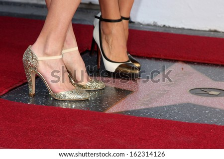 LOS ANGELES - NOV 8:  Hilary Swank, Mariska Hargitay at the Mariska Hargitay Hollywood Walk of Fame Star Ceremony at Hollywood Blvd on November 8, 2013 in Los Angeles, CA\ - stock photo