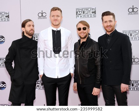 LOS ANGELES - NOV 23:  Imagine Dragons arrives to the 2014 American Music Awards on November 23, 2014 in Los Angeles, CA                 - stock photo