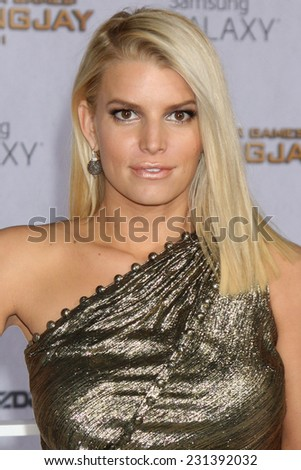LOS ANGELES - NOV 17:  Jessica Simpson at the The Hunger Games: Mockingjay Part 1 Premiere at the Nokia Theater on November 17, 2014 in Los Angeles, CA - stock photo