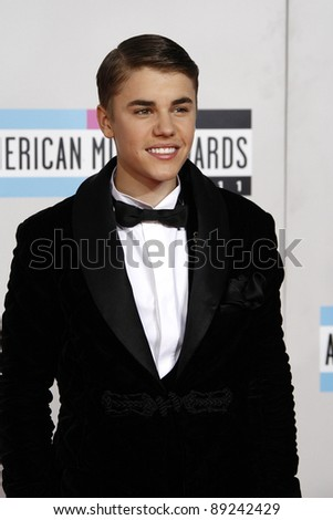 LOS ANGELES - NOV 20: Justin Bieber at the 2011 American Music Awards held at Nokia Theatre L.A. Live on November 20, 2011 in Los Angeles, California - stock photo
