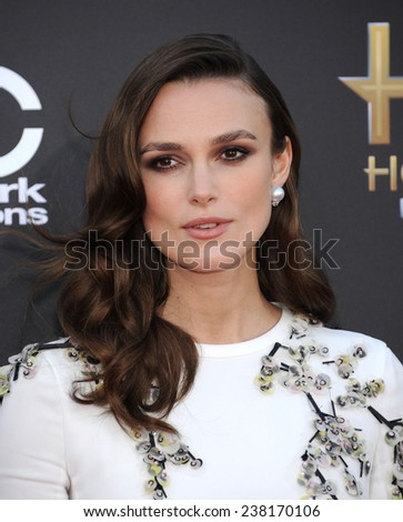 LOS ANGELES - NOV 14:  Keira Knightley arrives to the The Hollywood Film Awards 2014 on November 14, 2014 in Hollywood, CA                 - stock photo