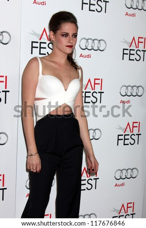 "LOS ANGELES - NOV 3:  Kristen Stewart arrives at the AFI Film Festival 2012  ""On the Road"" Gala Screening at Los Angeles on November 3, 2012 in Graumans Chinese Theater, CA - stock photo"