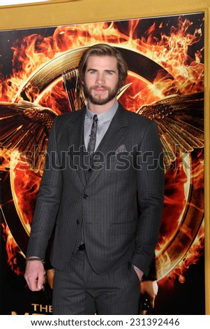 LOS ANGELES - NOV 17:  Liam Hemsworth at the The Hunger Games: Mockingjay Part 1 Premiere at the Nokia Theater on November 17, 2014 in Los Angeles, CA - stock photo