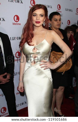 LOS ANGELES - NOV 20:  Lindsay Lohan arrives to the private dinner for the premiere of Lifetime's 'Liz & Dick'  at Beverly Hills Hotel on November 20, 2012 in Beverly Hills, CA - stock photo