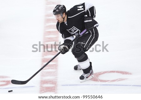 LOS ANGELES - NOV 28: Los Angeles Kings RW Justin Williams #14 during the National Hockey League game on Nov 28 2011 at Staples Center in Los Angeles. - stock photo