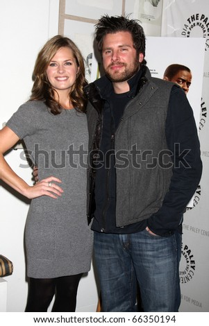 """LOS ANGELES - NOV 29:  Maggie Lawson, James Roday arrives at """"Psych:  A Twin Peaks Gathering"""" at Paley Center for Media on November 29, 2010 in Beverly Hills, CA - stock photo"""
