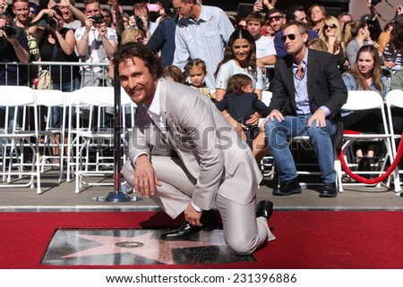 LOS ANGELES - NOV 17:  Matthew McConaughey at the Matthew McConaughey Hollywood Walk of Fame Star Ceremony at the Hollywood & Highland on November 17, 2014 in Los Angeles, CA - stock photo