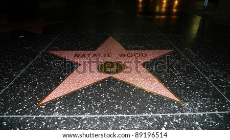 LOS ANGELES - NOV 19: Natalie Wood's star on the Walk of Fame on November 19, 2011 in Hollywood, Los Angeles, California.