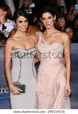 "LOS ANGELES - NOV 11:  Nikki Reed & Ashley Greene arrives to the ""The Twilight Saga: Breaking Dawn-Part 2"" World Premiere  on November 11, 2012 in Los Angeles, CA                 - stock photo"