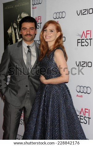 "LOS ANGELES - NOV 6:  Oscar Isaac, Jessica Chastain at the AFI FEST 2014 Screening Of ""A Most Violent Year"" at the Dolby Theater on November 6, 2014 in Los Angeles, CA - stock photo"