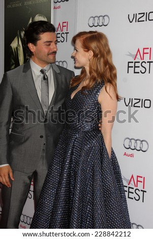 "LOS ANGELES - NOV 6:  Oscar Isaac, Jessica Chastain at the AFI FEST 2014 Screening Of ""A Most Violent Year"" at the Dolby Theater on November 6, 2014 in Los Angeles, CA"