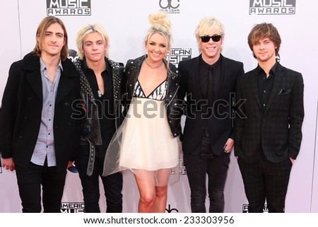 LOS ANGELES - NOV 23:  R5, Ross Lynch at the 2014 American Music Awards - Arrivals at the Nokia Theater on November 23, 2014 in Los Angeles, CA - stock photo