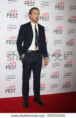 LOS ANGELES - NOV 05:  Ryan Gosling at the AFI Fest 2015 - Presented by Audi - The Big Short Gala Screening at the TCL Chinese Theater on November 05, 2015 in Los Angeles, CA - stock photo