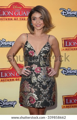 "LOS ANGELES - NOV 14:  Sarah Hyland at the ""The Lion Guard: Return Of The Roar"" Screening at the Walt Disney Studios on November 14, 2015 in Burbank, CA - stock photo"