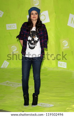 LOS ANGELES - NOV 20:  Selena Gomez at the Adidas NEO news conference where Selena Gomez is signed on as the new style icon and designer at Private Location on November 20, 2012 in Los Angeles, CA