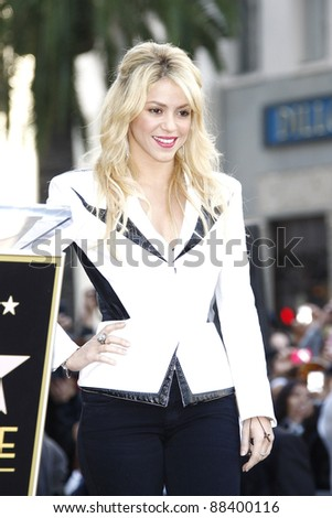 LOS ANGELES - NOV 8: Shakira receives a star on the Hollywood Walk of Fame on November 8, 2011 in Los Angeles, California