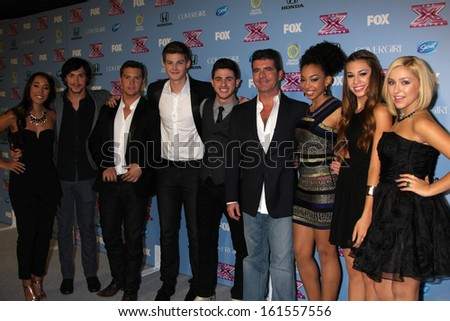 "LOS ANGELES - NOV 4:  Simon Cowell, Alex & Sierra, Restless Road, Sweet Suspense at the 2013 ""X Factor"" Top 12 Party  at SLS Hotel on November 4, 2013 in Beverly Hills, CA - stock photo"