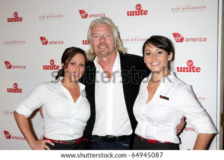 LOS ANGELES - NOV 11:  Sir Richard Branson, Virgin America Flight Attendants arrives at the Rock the Kabash Gala 2010 at Dorothy Chandler Pavilion  on November 11, 2010 in Los Angeles, CA - stock photo