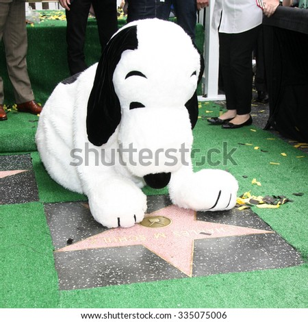 LOS ANGELES - NOV 2:  Snoopy and the WOF star for Charles Schultz at the Snoopy Hollywood Walk of Fame Ceremony at the Hollywood Walk of Fame on November 2, 2015 in Los Angeles, CA - stock photo