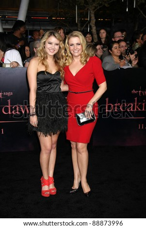 "LOS ANGELES - NOV 14:  Taylor Spreitler, Melissa Joan Hart arrives at the ""Twilight: Breaking Dawn Part 1"" World Premiere at Nokia Theater at LA LIve on November 14, 2011 in Los Angeles, CA - stock photo"