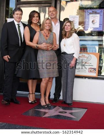 LOS ANGELES - NOV 8:  Zoltan Hargitay, Mariska Hargitay, Mickey Hargitay Jr, Jayne Marie Mansfield at the Mariska Hargitay WOF Ceremony at Hollywood Blvd on November 8, 2013 in Los Angeles, CA\ - stock photo