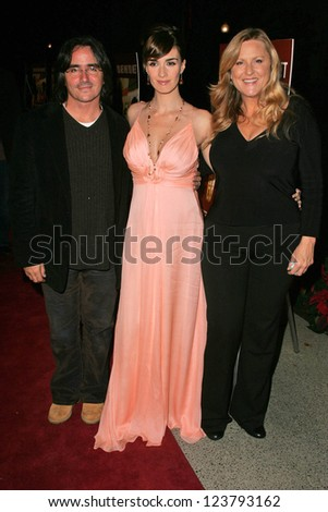 "LOS ANGELES - NOVEMBER 27: Brad Silberling with Paz Vega and Lori McCreary at the premiere of ""10 Items Or Less"" at Paramount Theater on November 27, 2006 in Los Angeles, CA"
