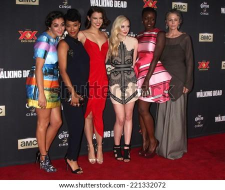 "LOS ANGELES - OCT 2:  Alanna Masterson, Sonequa Martin-Green, Lauren Cohan, Emily Kinney, Danai Gurira, M McBride at the ""The Walking Dead"" Premiere at City Walk on October 2, 2014 in Los Angeles, CA - stock photo"
