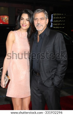 "LOS ANGELES - OCT 26:  Amal Alamuddin Clooney, George Clooney at the ""Our Brand is Crisis"" LA Premiere at the TCL Chinese Theater on October 26, 2015 in Los Angeles, CA - stock photo"