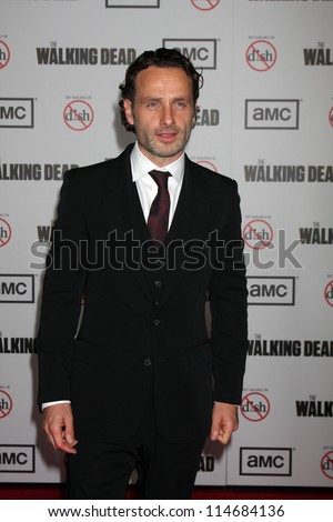 "LOS ANGELES - OCT 4:  Andrew Lincoln arrives at ""The Walking Dead"" 3rd Season Premiere Screening at Universal Citywalk on October 4, 2012 in Los Angeles, CA - stock photo"