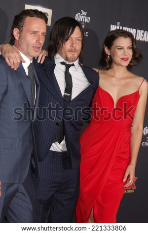 "LOS ANGELES - OCT 2:  Andrew Lincoln, Lauren Cohan, Norman Reedus at the ""The Walking Dead"" Season 5 Premiere at Universal City Walk on October 2, 2014 in Los Angeles, CA - stock photo"