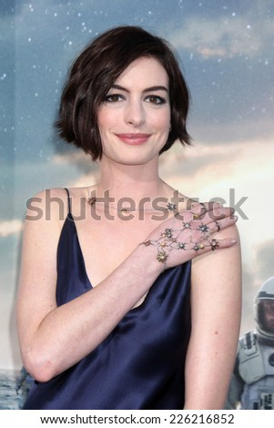 "LOS ANGELES - OCT 26:  Anne Hathaway at the ""Interstellar"" Premiere at the TCL Chinese Theater on October 26, 2014 in Los Angeles, CA - stock photo"