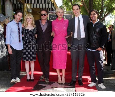 LOS ANGELES - OCT 29:  Big Bang Theory Cast at the Kaley Cuoco Star on the Hollywood Walk of Fame at the Hollywood Blvd on October 29, 2014 in Los Angeles, CA - stock photo