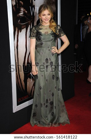 "LOS ANGELES - OCT 07:  Chloe Grace Moretz arrives to ""Carrie"" World Premiere  on October 7, 2013 in Hollywood, CA"