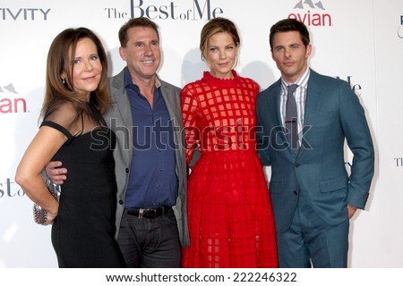 "LOS ANGELES - OCT 7:  Denise Di Novi, Nicholas Sparks, Michelle Monaghan, James Marsden at the ""The Best of Me"" LA Premiere at Regal 14 Theaters on October 7, 2014 in Los Angeles, CA - stock photo"