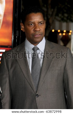 "LOS ANGELES - OCT 26:  Denzel Washington arrives at the ""Unstoppable"" Premiere at Regency Village Theater on October 26, 2010 in Westwood, CA"