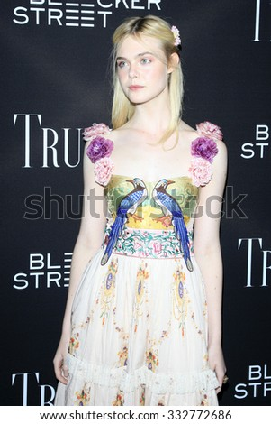 "LOS ANGELES - OCT 27:  Elle Fanning at the ""Trumbo"" Premiere at the Samuel Goldwyn Theater on October 27, 2015 in Beverly Hills, CA - stock photo"