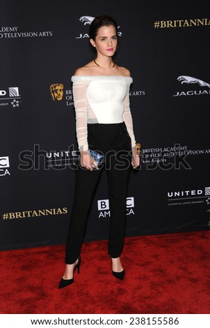 LOS ANGELES - OCT 30:  Emma Watson arrives to the BAFTA Jaguar Brittannia Awards 2014 on October 30, 2014 in Beverly Hills, CA                 - stock photo