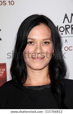 "LOS ANGELES - OCT 13:  Franka Potente arrives at the ""American Horror Story: Asylum"" Premiere Screening at Paramount Theater on October 13, 2012 in Los Angeles, CA - stock photo"
