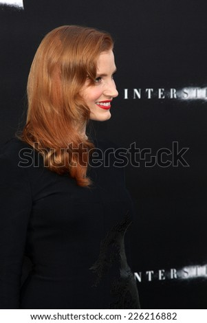 "LOS ANGELES - OCT 26:  Jessica Chastain at the ""Interstellar"" Premiere at the TCL Chinese Theater on October 26, 2014 in Los Angeles, CA - stock photo"