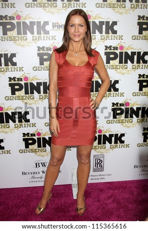 "LOS ANGELES - OCT 11:  Josie Davis arrives at the ""Mr. Pink"" Energy Drink Launch at Beverly Wilshire Hotel on October 11, 2012 in Beverly Hills, CA - stock photo"