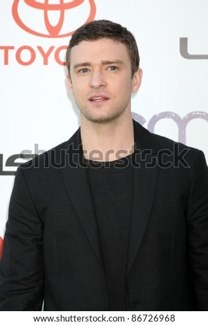 LOS ANGELES - OCT 15:  Justin Timberlake arriving at the 2011 Environmental Media Awards at the Warner Brothers Studio on October 15, 2011 in Beverly Hills, CA - stock photo