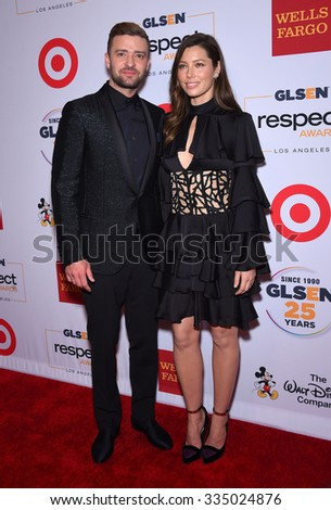 LOS ANGELES - OCT 23:  Justin Timberlake & Jessica Biel arrives to the GLSEN Awards 2015 on October 23, 2015 in Hollywood, CA.                 - stock photo